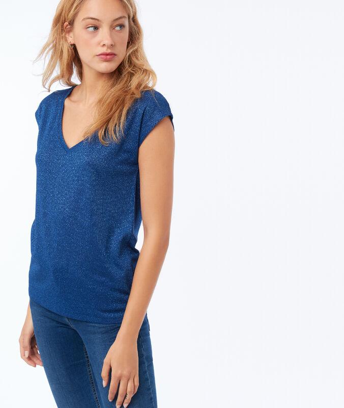 T-shirt col v à fils métallisés bleu moonlight.