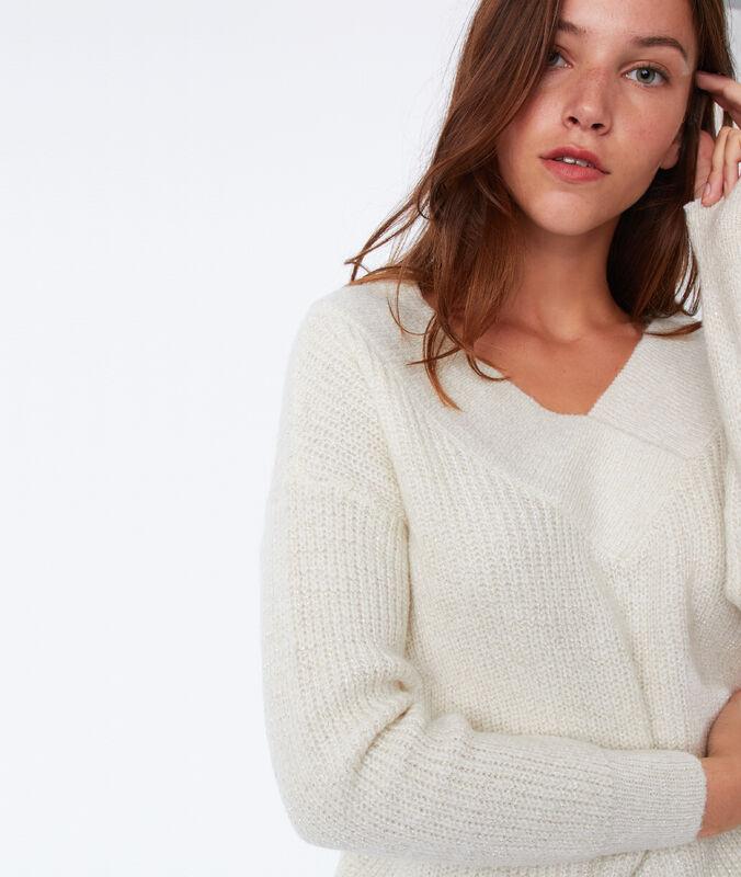 Pullover mit v-ausschnitt und metallic-fäden ecru.