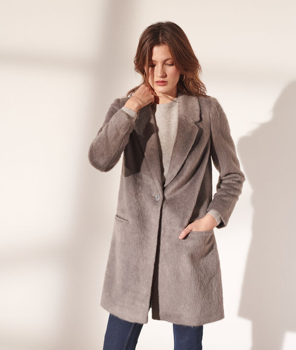 Schmaler Mantel aus Kunstpelz