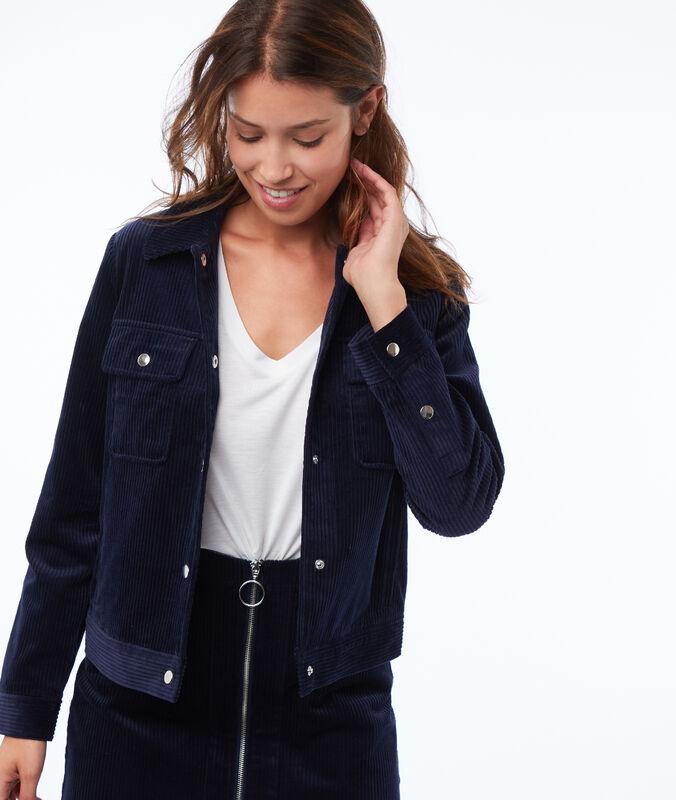 Jacke aus cordsamt marineblau.