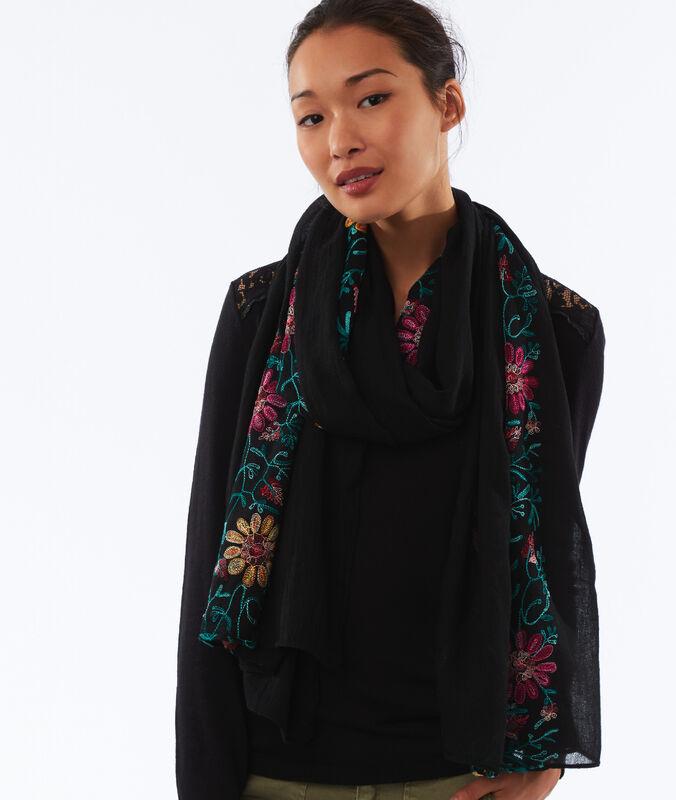 Foulard fleurs brodées noir.