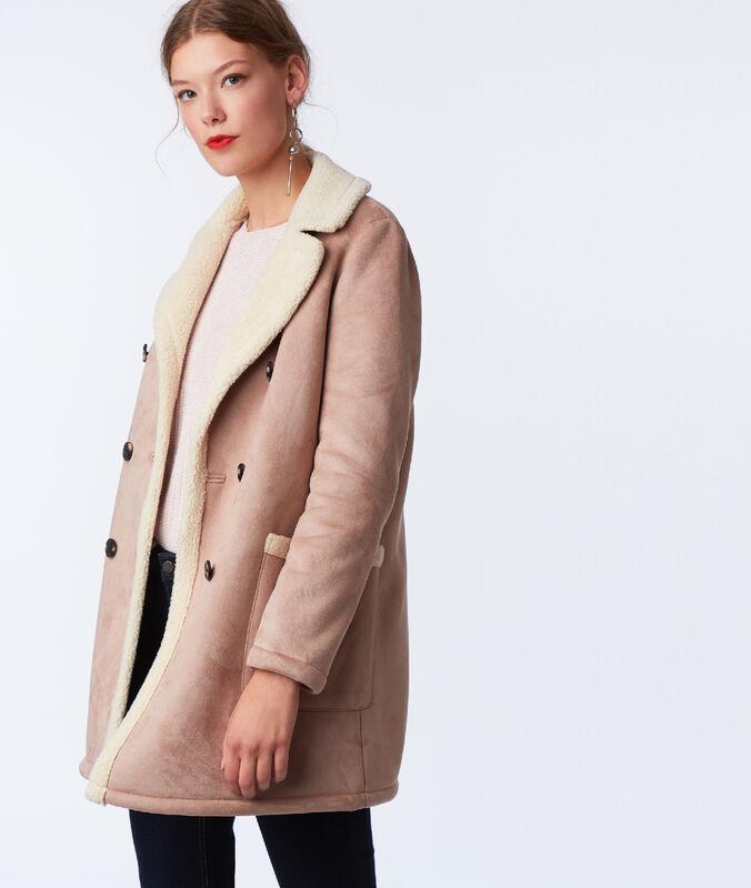 Manteau 3/4 effet peau lainée camel.
