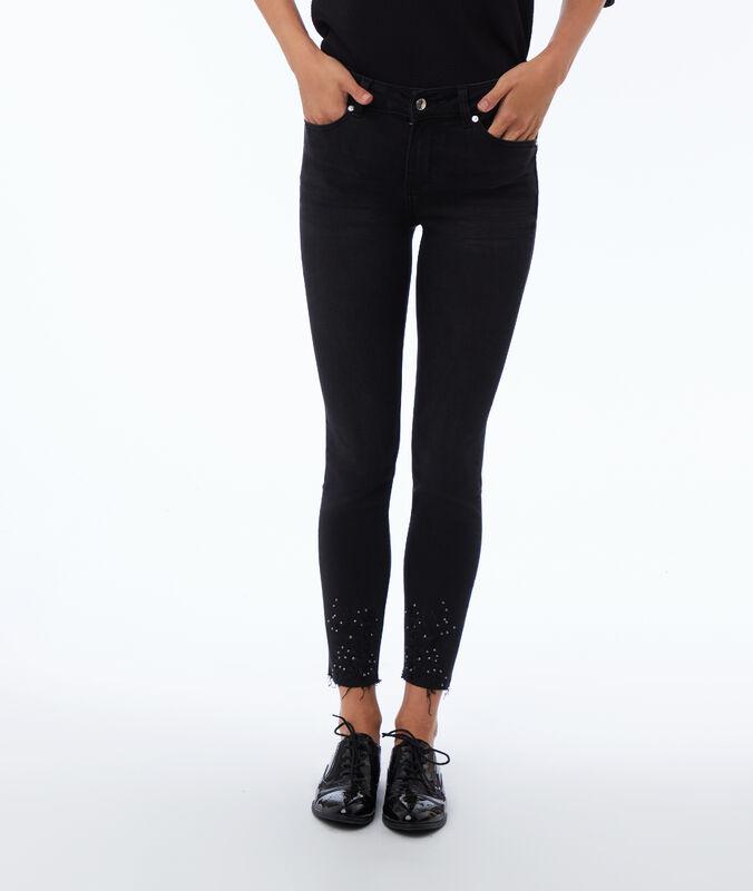 Skinny-jeans mit perlen schwarz.