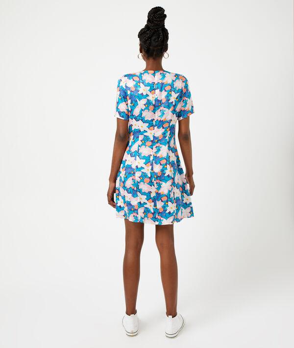 Geknöpftes Kleid mit floralem Print