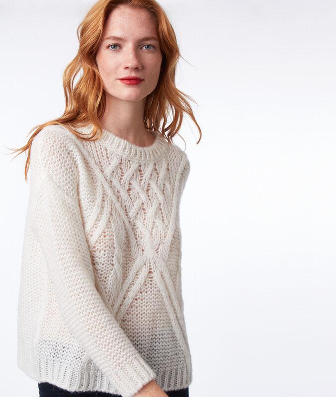 Pullover aus wolle ecru.