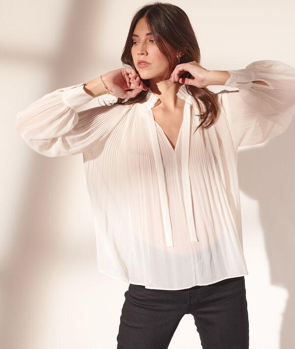 Plissierte Bluse, Kragen mit Rüschen
