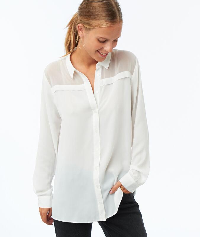 Einfarbige bluse mit langen ärmeln ecru.