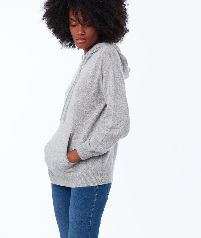 Pullover mit kapuze, 100 % kaschmir hellgrau meliert.