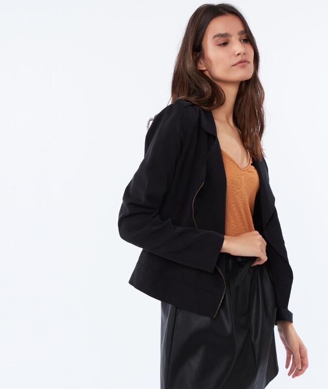 Jacke mit reißverschluss aus tencel® schwarz.