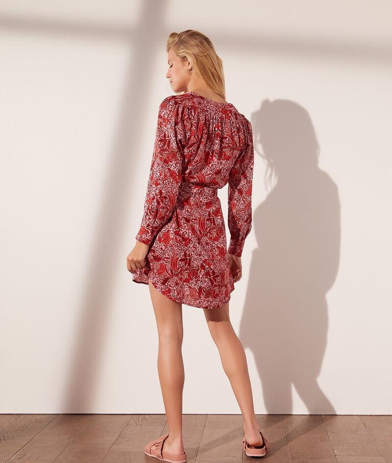 Kurzes Kleid mit Blumendruck und Gürtel