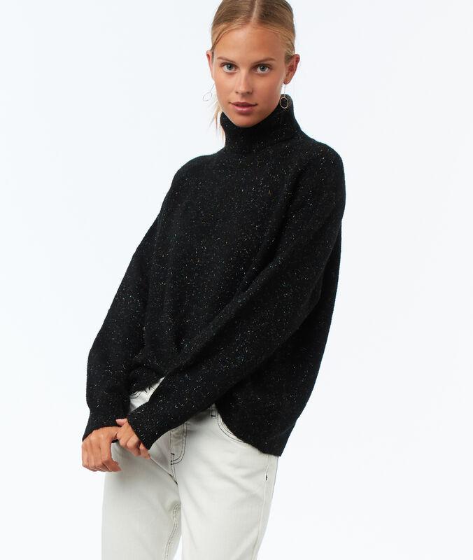 Oversize-pullover mit rollkragen und details aus metallic-fäden schwarz.