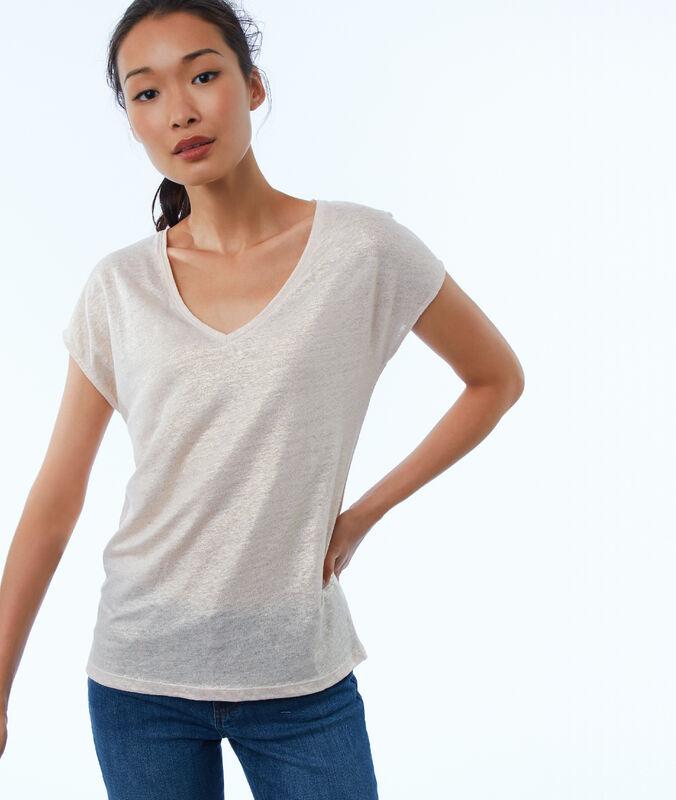 T-shirt mit v-ausschnitt nude.