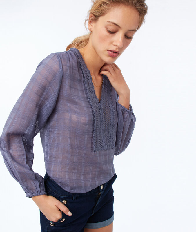 Bluse mit tunesischem ausschnitt aus baumwolle schieferblau.