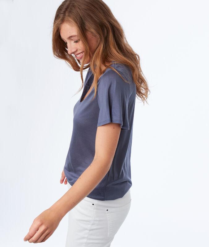 T-shirt, v-ausschnitt, aus tencel® schieferblau.