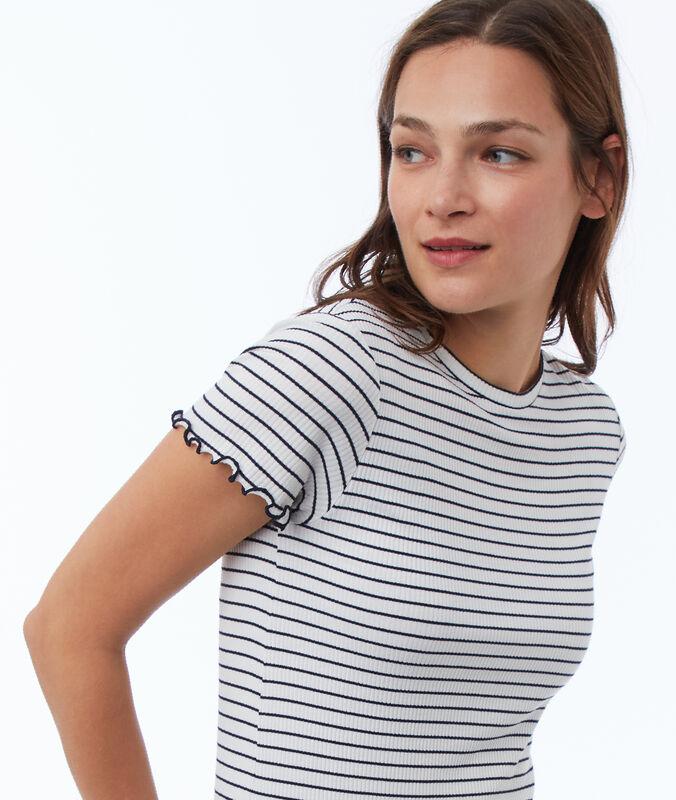 Gesteiftes t-shirt marineblau.