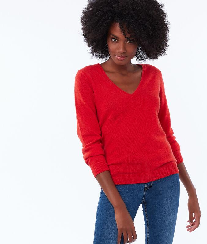 Pullover mit v-ausschnitt, 100 % kaschmir mohnblume.
