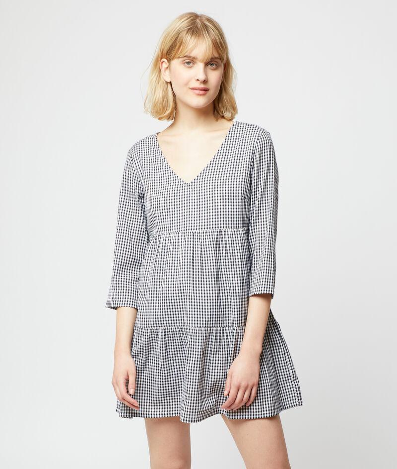 Fließendes Kleid mit Karo-Print