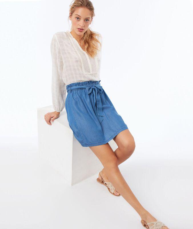 Bluse mit tunesischem ausschnitt aus baumwolle ecru.