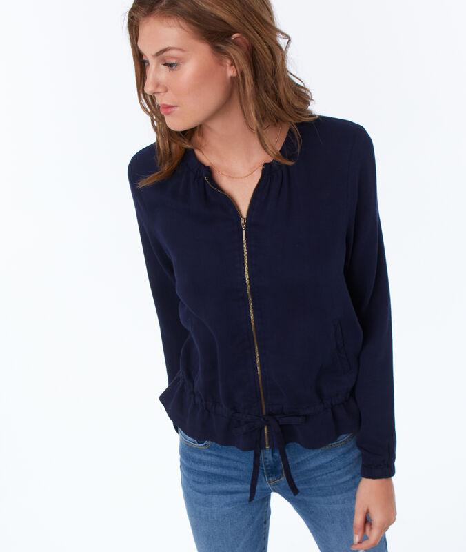 Jacke mit reißverschluss aus tencel® marineblau.
