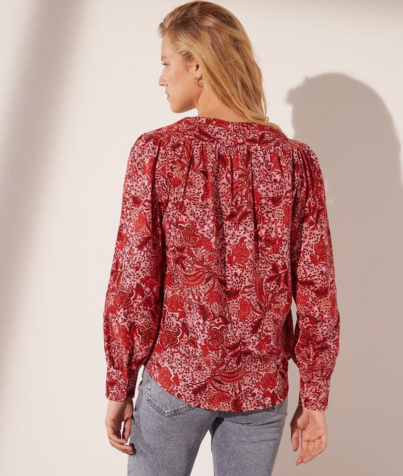 Bluse mit V-Ausschnitt aus Baumwolle