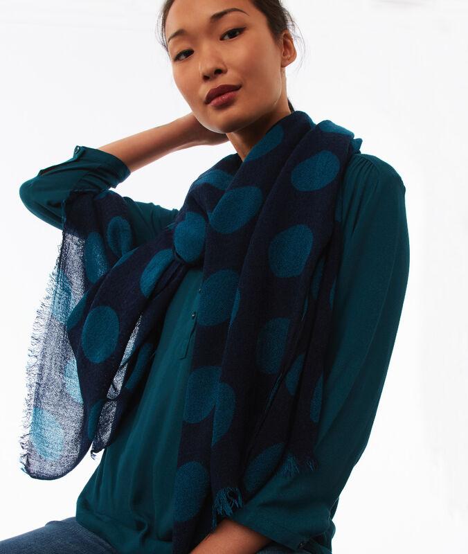 Foulard bicolore bleu marine.