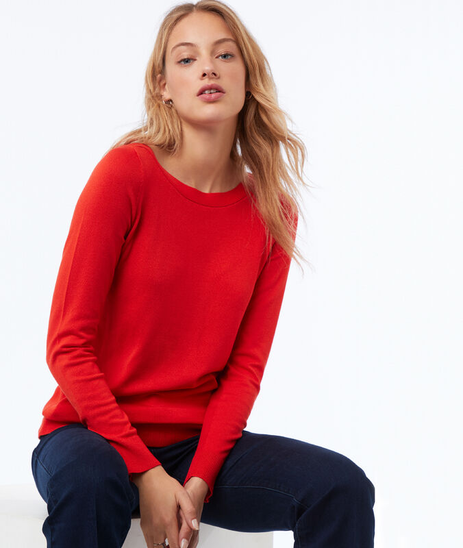 Pull col bateau rouge coquelicot.