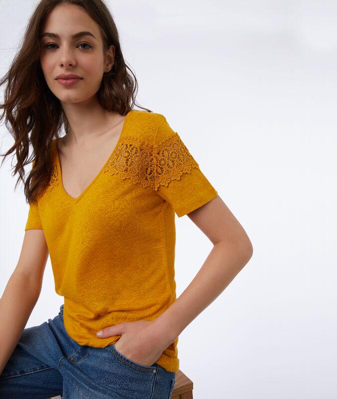 T-shirt mit guipure-spitze honig.