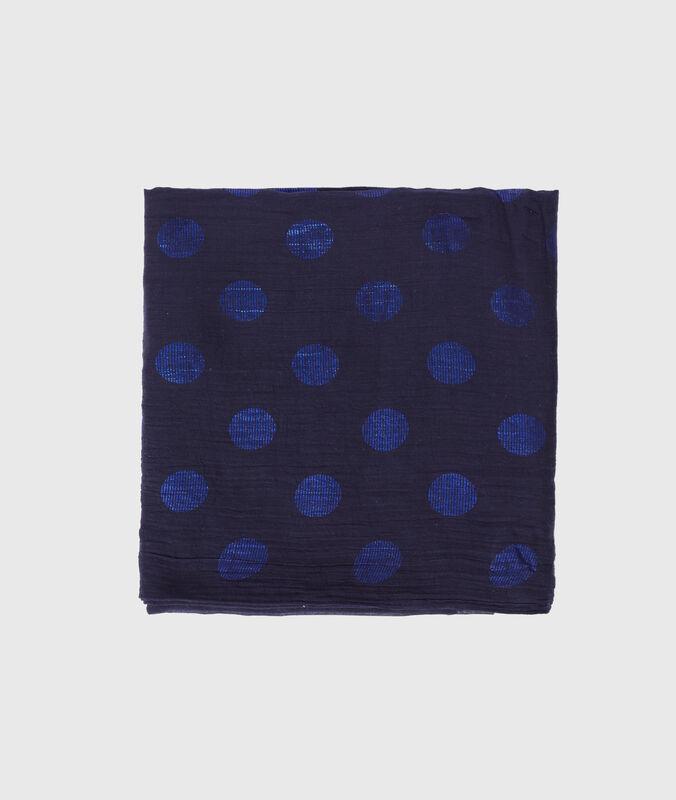 Schal mit punkten marineblau.