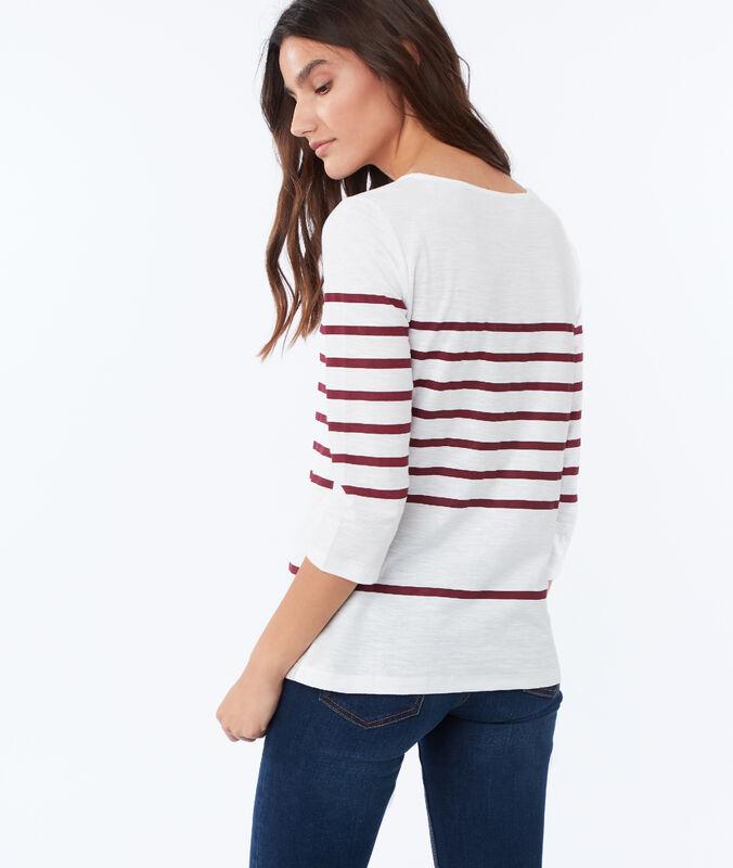 Gestreiftes t-shirt aus baumwolle rot.