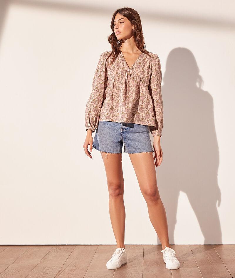 Bluse mit Print aus Baumwollgaze